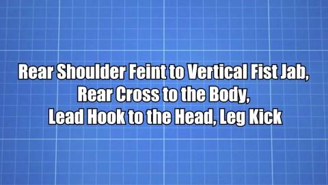 Rear Shoulder Feint to Vertical Fist Jab, Rear Cross to the Body, Lead Hook to the Head, Leg Kick